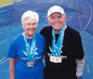 Grace (left) and Bill (right) Moremen enjoy staying active by race-walking.
