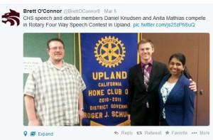 Principal O'Connor Tweets News to CHS