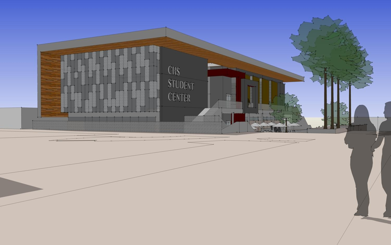 Visions of the new Student Center (Northwest Ground View, above).