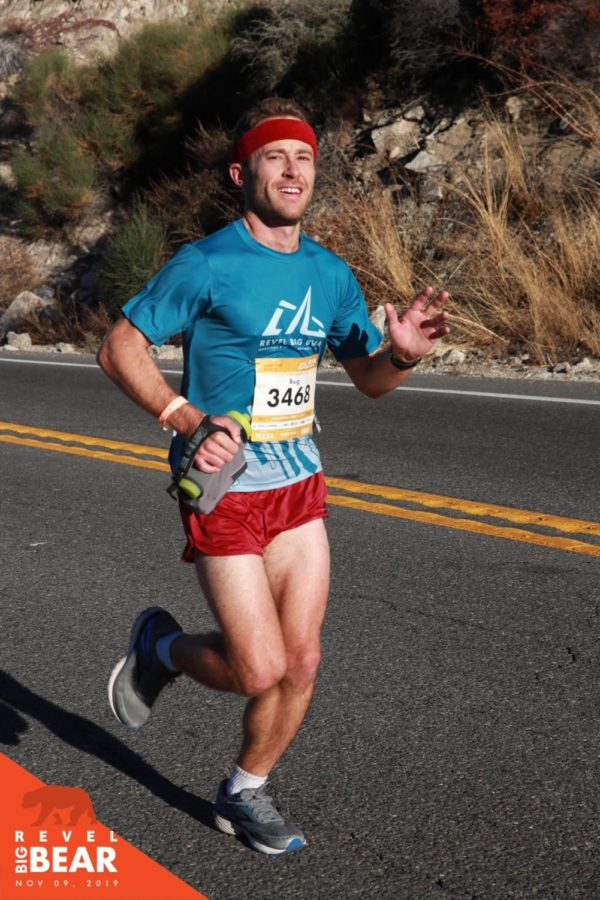 "Mr. Ryan ""Dash"" Pettibone is pictured running the Nov. 9 Revel Big Bear Marathon. His time was 2:47:40, an average pace of 6:24 per mile, and he placed 14th overall and fourth in his age group."
