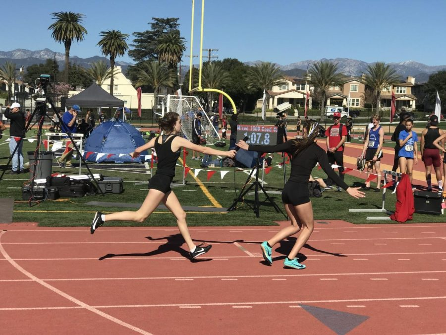 Californian+athletes+hand+off+the+baton+in+the+Mixed+4x400-Meter+Relay+at+a+qualifying+meet+in+Covina+for+the+California+Winter+Track+%26+Field+Championships.+New+to+high+school+winter+and+indoor+track+competitions%2C+the+event+will+also+be+run+at+the+upcoming+Olympic+Games+in+Tokyo.