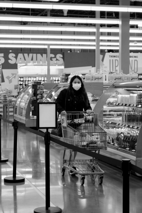 A masked patron at Whole Foods Market shops for her essential groceries