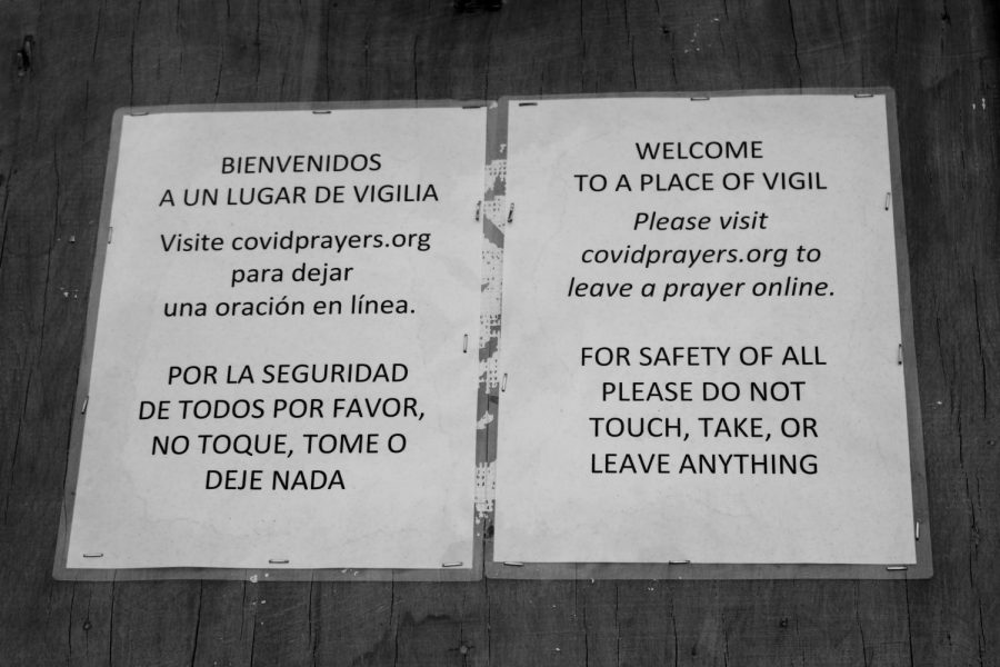 Claremont United Methodist Church encourages onlookers not to touch the prayer monument in order to prevent the spread of the virus