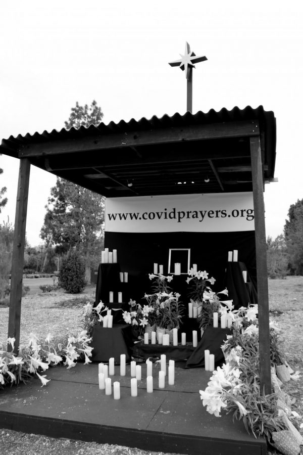 Claremont United Methodist Church has positioned a prayer monument for victims of the pandemic, complete with fake candles