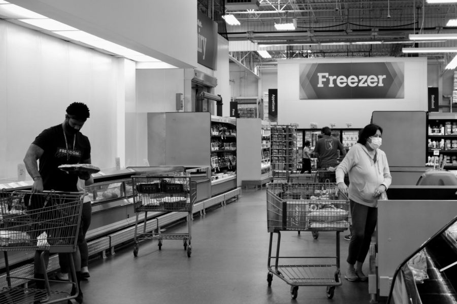 Patrons shopping at Sam's Club stock up on meat products after the publicized