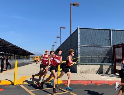 Cross-country runners round a turn during their dual meet against Bonita High School on March 6.
